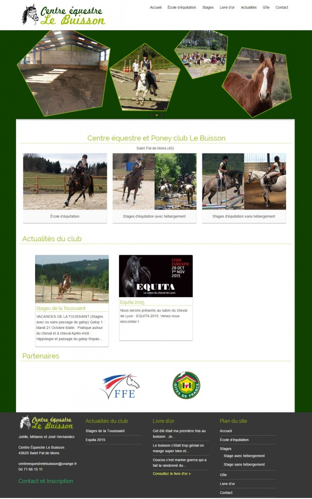 Site internet pour poney club